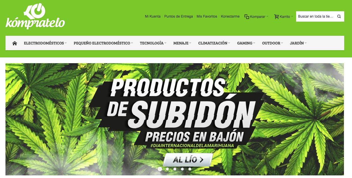 Slider en la home de Kómpratelo con motivo del Día de la Marihuana