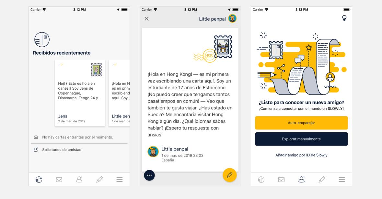 Capturas de la app de Slowly en uso